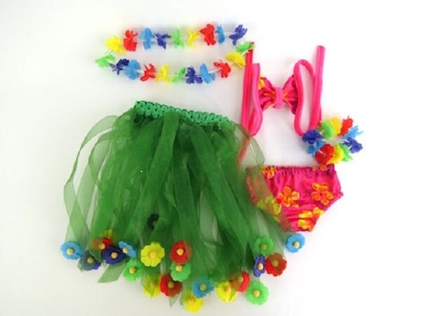Green Hawaiian Swim and Luau Set 5 pc for American Girl 18 inch or Bitty Baby 15 inch Doll Clothes
