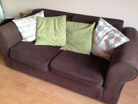 Brown 2 seater + 2 seater sofa bed matching