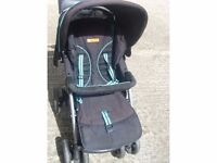 GENUINE URBAN DETOUR PUSH CHAIR IN VERY GOOD WORKING CONDITION IN BLACK AND BLUE COMBINATION