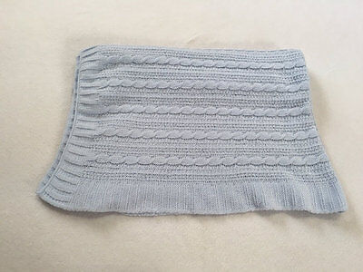 Kyle & Deena Light Blue Chenille Cable Knit Pattern Baby Blanket Soft