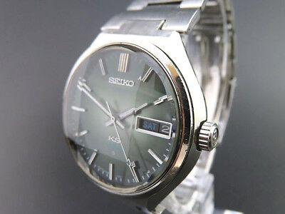 RARE!! KING SEIKO Men's VANAC 5626-7160 AUTOMATIC KS Day & Date Watch Green Dial