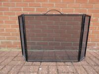 Folding Metal Fireguard Safety Screen - Black heavy duty finish with brass handle. 3 Panel.