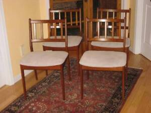 Re-upholstered Vintage MCM Retro Teak Dining Chairs, Table