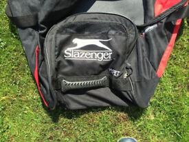 Cricket bag, gloves and pads