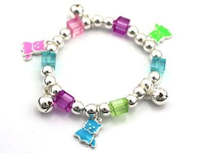 Childrens Beaded Stretch Bracelet with Multi Color Kitty Cat Charms