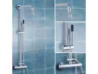 BRAND NEW BOXED SLIM SQUARE HEAD TWIN HEAD THERMOSTATIC SHOWER MIXER