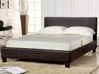 Low Frame Leather Bed in Black Brown w Deep Quilt Mattress - Package Price