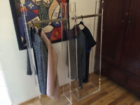Two beautiful high quality clothes display/racks, shop/showroom in clear Perspex