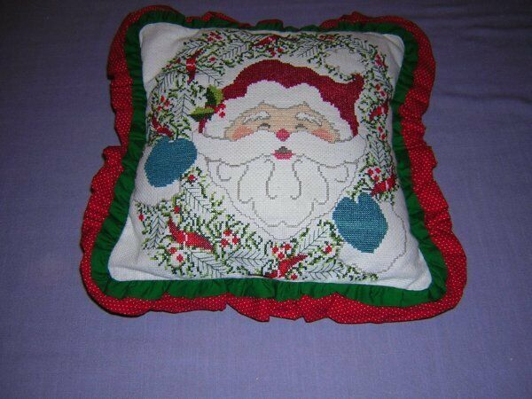 Completed Cross Stitch Christmas Santa Pillow