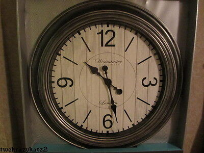 HUGE 30 BLACK SILVER BRUSHED NICKEL ANTIQUE FINISH WALL CLOCK GORGEOUS