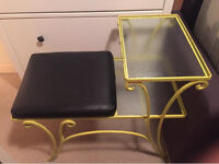 Lovely telephone table with yellow metal frame with 2 glass shelves