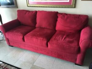 free delivery- red microfiber couch