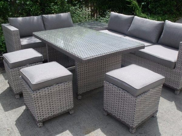 All Weather Stunning Grey Rattan Corner Sofa Set with Dining Table