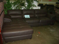 Milan genuine top grain brown Leather Sectional,Left or right .