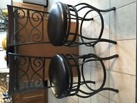 2 Iron Detail Bar Stools