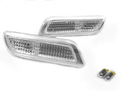 - Clear Bumper Side Marker Light + Chrome Bulbs For 1998-02 Mercedes Benz CLK W208