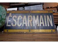ORIGINAL VINTAGE FRENCH RAILWAY STATION PLATFORM METAL SIGN