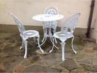 Cast aluminium garden table and 3 chairs