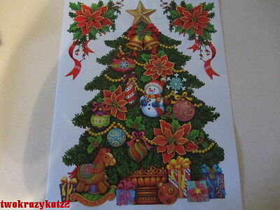 CHRISTMAS TREE GLITTER WINDOW CLINGS INDOOR DECORATIONS 3 PCS