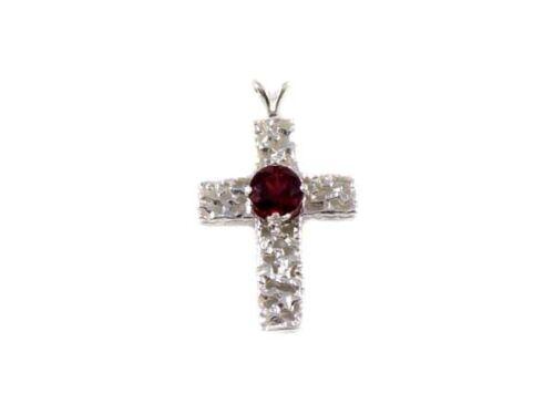 """Red Garnet Cross Pendant Medieval Lion Engraved Plague """"Black Death"""" Amulet"""