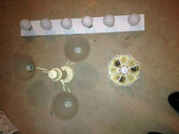 2 celing lights w bulbs and vanity w bulbs for sale