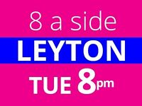 Play 8 a side football in Leyton today! Players are needed for friendly/competitive games.