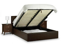 *14-DAY MONEY BACK GUARANTEE!* Double Ottoman Leather Storage Bed with Light Quilt Mattress SAME DAY