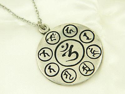 Whitemetal Buddhist Pendant Top ; AMIDA MANDALA (The Mantra of Amitabha)
