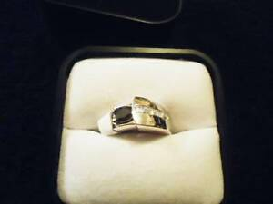 Fifth Avenue Collection Silver Ring Blue Saphire & Diamonel NEW
