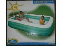Large inflatable pool 305cm x 183cm x 56cm inflated once but unused still boxed