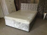 Single, Double and King Size Crush Velvet Divan Bed Base in Silver Color