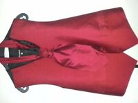 Silk Red Waist Coat With Silk Red cravat Size : Large . Condition of item new