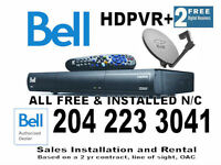Bell Satellite TV..1 HDPVR+2 SD Receiver N/C +$150 Prgm Credit