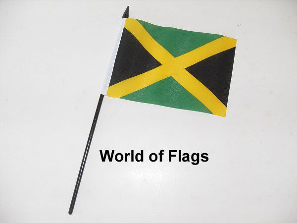 "JAMAICA SMALL HAND WAVING FLAG 6"" x 4"" Jamaican Caribbean Crafts Table Display"