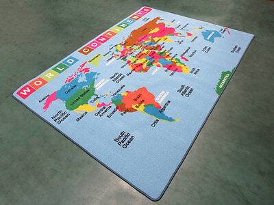 KIDS CHILDREN SCHOOL CLASSROOM WORLD MAP 3' x 5' EDUCATIONAL NON SKID RUG