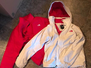 Women's White/Pink north face jacket - Size XL