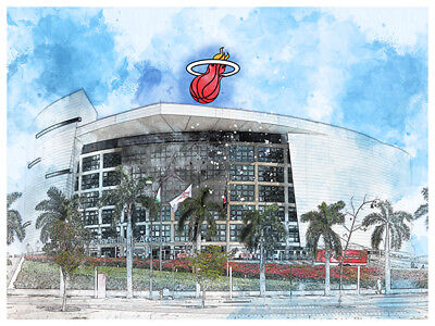 Miami Heat Poster Architectural Design Art Print Man Cave Decor 12x16