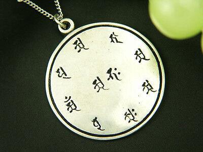 Whitemetal Buddhist Pendant Top ; HOKKE MANDALA (The Mandala of Lotus Sutra)