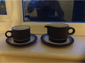 1970s brown Lancaster coffee cups saucers, side plates & milk jug