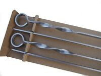 Heavy duty stainless steel barbecue shashlik kebab skewers - pack of four. 70cm x 1cm x 3mm