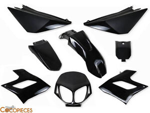 kit 8 car nages derbi senda drd racing fairing plastics 2004 2010 noir black ebay. Black Bedroom Furniture Sets. Home Design Ideas