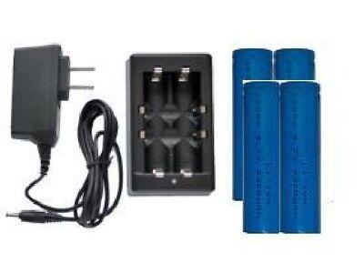 Universal Li-Ion Charger + 4-Pack 18650 3.7 Volt Lithium Ion 2200 mAh Batteries
