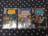 3 vintage 1980s Star Wars Comics signed by Mark Hamill