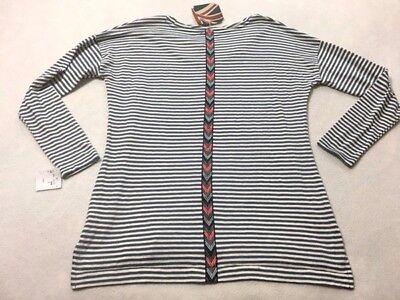 Addison Stripe - Arabella & Addison S Small Blue White Stripe Shirt Back Southwest Arrow Detail