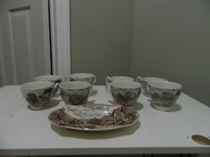 8 Old English Country Cups & 1 Small Dish made in England