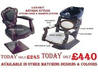 Brand New Antique Styled Hydraulic Barber Styling Chair & Backwash, Waiting Sofa, Salon Barber Pole