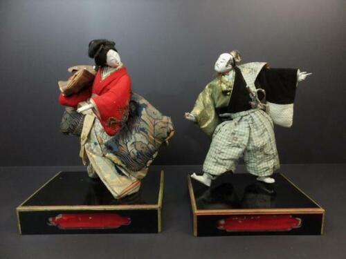 "Japanese Antique Dancing Samurai Geisha Doll Edo Period 15"""