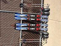 2 sets of kids' downhill ski gear