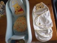 winnie the pooh baby bath and towel swaddler