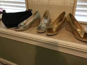 ladies  gold and silver sequins shoes size 8